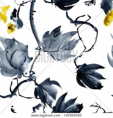Plant with yellow flower buds. Watercolor and ink painting in style gohua sumi-e u-sin. Oriental traditional painting. Seamless pattern.