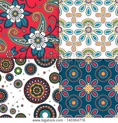 Indian colorful floral pattern set. Vector illustration