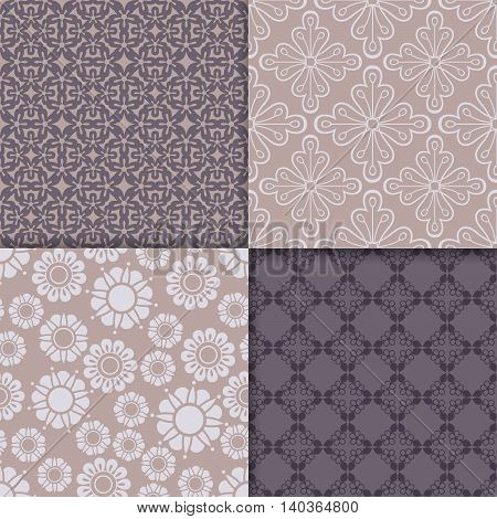 Violet and serenity geometric pattern set. Vector illustration