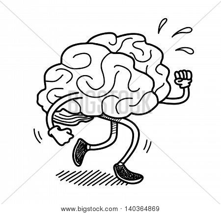 Brain Exercise Doodle. A hand drawn vector doodle illustration of a brain exercising itself.