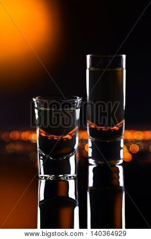 Glasses With Alcoholic Drink On A Black  Background