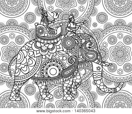 Doodle Indian maharajah over elephant ornate background. Vector illustration
