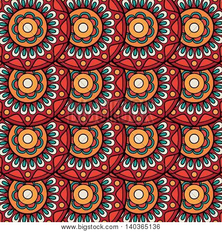 Ethnic boho floral rosettes seamless pattern. Vector illustration