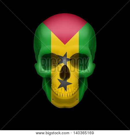 Human skull with flag of Sao Tome and Principe. Threat to national security war or dying out