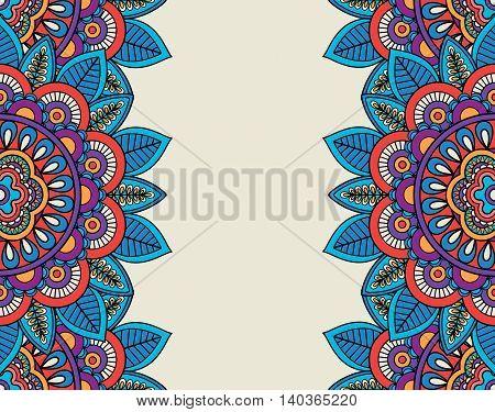 Indian doodle boho floral borders. Vector illustration