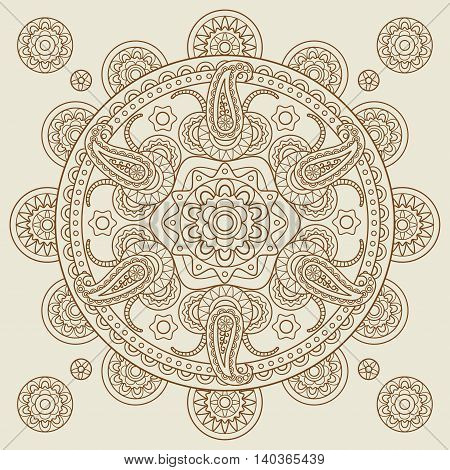 Oriental Indian paisley boho mehendi mandala. Vector illustration