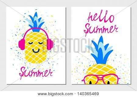 Vector bright summer greeting cards with pineapples in headphones and glasses.