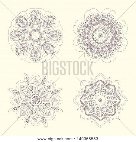 Hand drawn mandalas set with contoured mandalas
