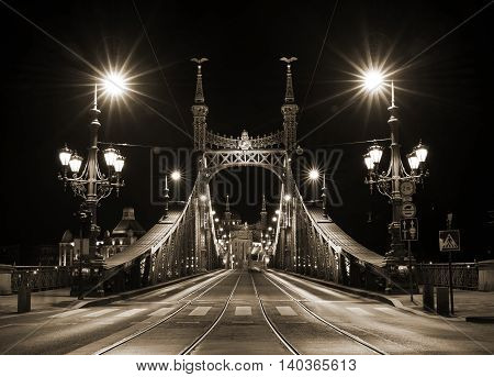 Night view of Liberty Bridge in Budapest, Hungary, Pest side of the city