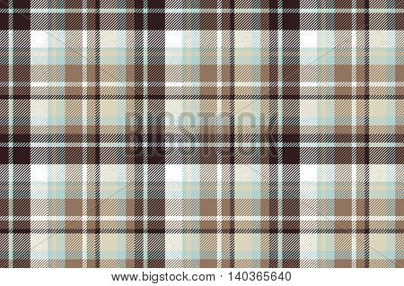 Brown blue check fabric seamless pattern. Vector illustration.