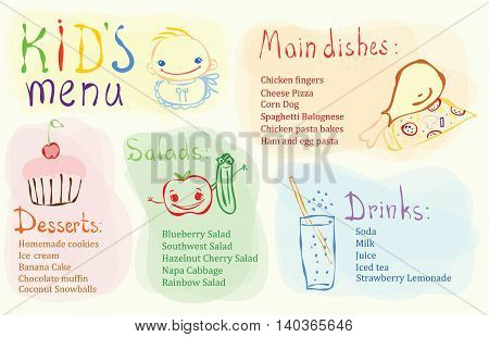 Kids Menu Card Design template with cute doodle picture of dessert, salads,drinks and main dishes