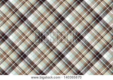 Brown blue diagonal fabric seamless pattern. Vector illustration.