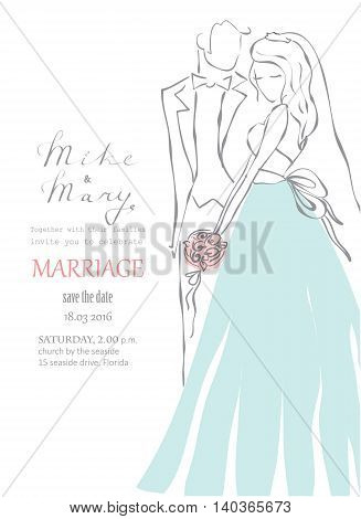 Vector wedding invitation with hand drawn bride and groom