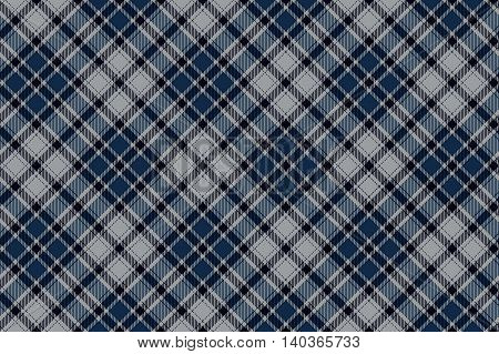 Blue diagonal plaid seamless fabric pattern. Vector illustration. EPS10.
