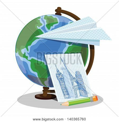 Cartoon globe and paper plane, vector illustration for school