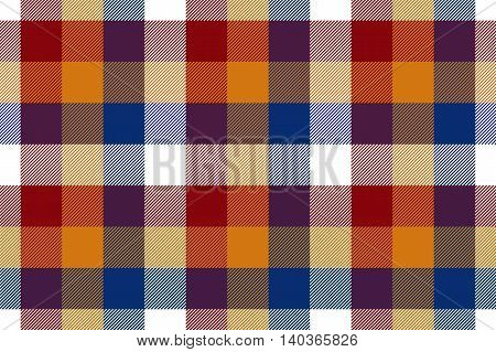 Colored check seamless fabric texture. Vector illustration. EPS10.