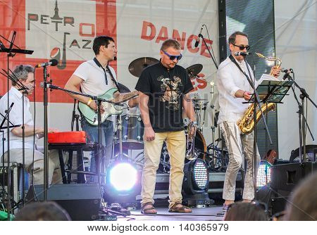 St. Petersburg, Russia - 2 July, The quartet of musicians with instruments, 2 July, 2016. Annual international festival of jazz and blues in St. Petersburg.