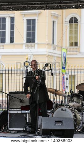 St. Petersburg, Russia - 23 July, The musician playing the violin, 23 July, 2016. Speech by David Goloschekin with his jazz group on the Arts Square in St. Petersburg.