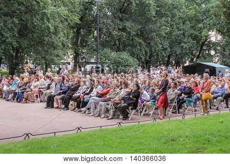 St. Petersburg, Russia - 23 July, The audience listens to jazz, 23 July, 2016. Speech by David Goloschekin with his jazz group on the Arts Square in St. Petersburg.