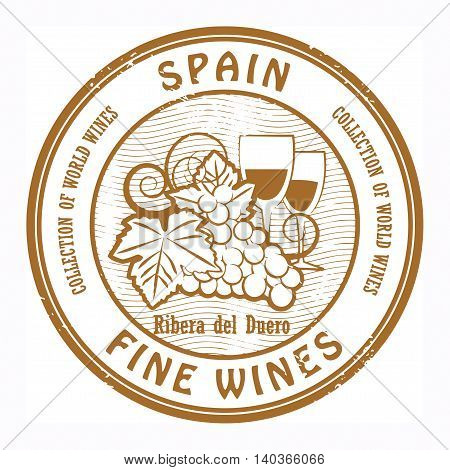 Grunge rubber stamp with words Spain, Fine Wines, vector illustration