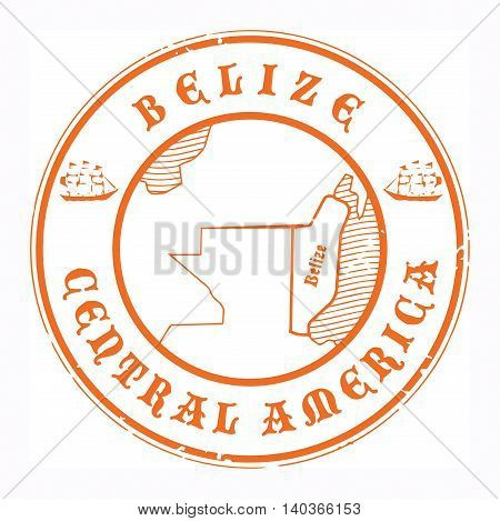 Grunge rubber stamp with the name and map of Belize, vector illustration