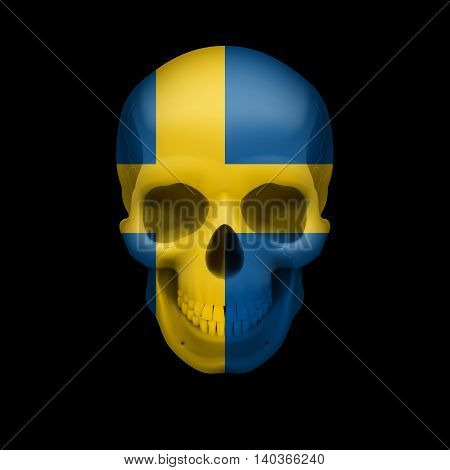 Human skull with flag of Sweden. Threat to national security war or dying out