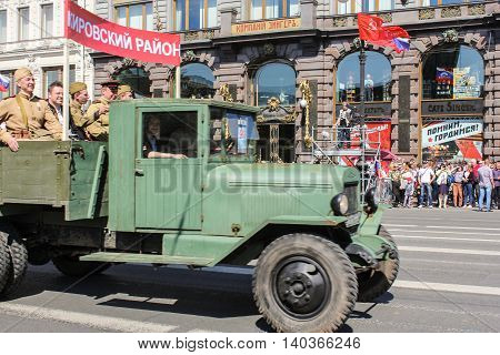 St. Petersburg, Russia - 9 May, People in the old military truck, 9 May, 2016. Celebration day of victory in the center of St. Petersburg.