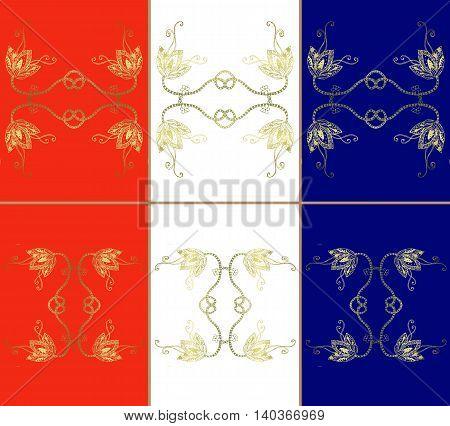 Set of vintage ceramic tiles. Tricolor bright background. Vector illustration.