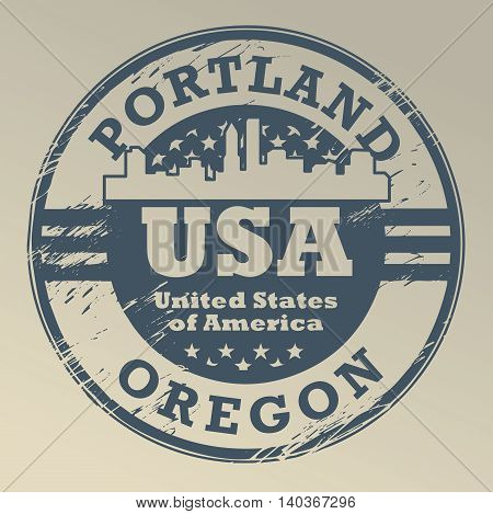 Grunge rubber stamp with name of Oregon, Portland, vector illustration