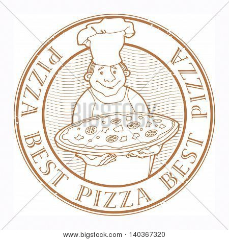 Stamp with text Best Pizza written inside, vector illustration