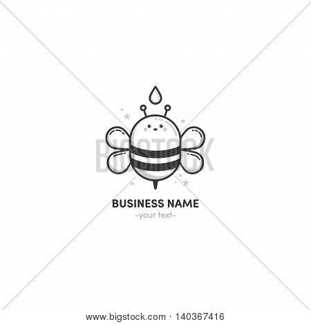 Logo design Bee honey black and white