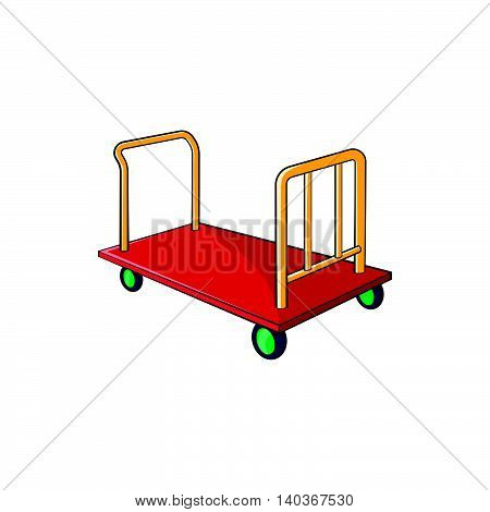 Baggage cart icon in cartoon style on a white background