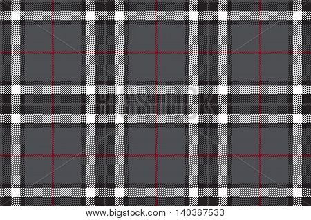Gray tartan fabric textire seamless pattern. Vector illustration.
