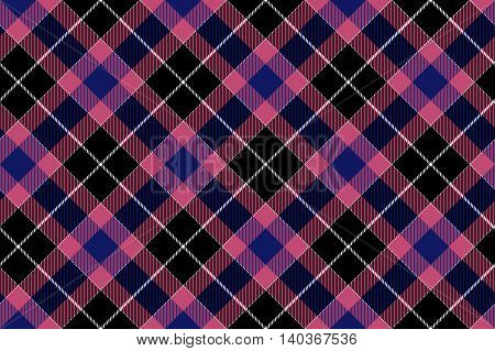 Pink blue black check plaid seamless pattern. Vector illustration. EPS10.