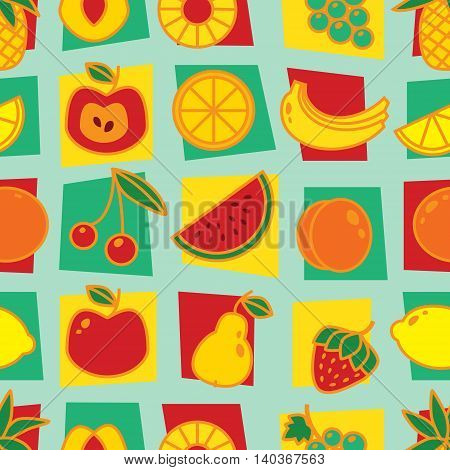 Seamless pattern with fruits on blue background. Art vector illustration