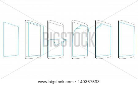 set steps apply screen protector tablet PC vector illustration
