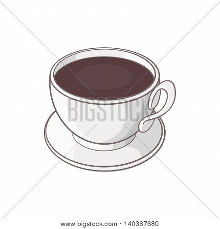 Cup of coffee icon in cartoon style on a white background