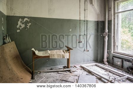 CHERNOBYL, UKRAINE-MAY,20: debris in abandoned technical room on May 20, 2016 in Pripyat