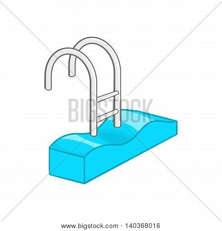 Stairs of the swimming pool icon in cartoon style on a white background
