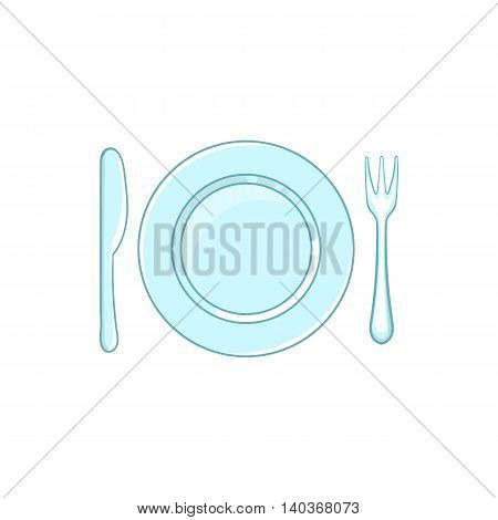 Place setting with empty dish fork and knife icon in cartoon style on a white background