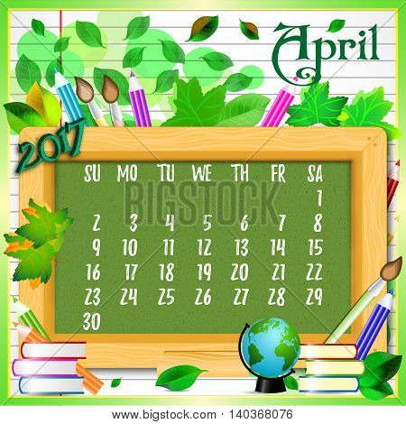 Calendar design grid with green chalkboard and school supplies on page of copybook in line. Back to school background with dates of spring month April 2017. Vector illustration