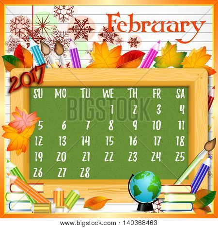 Calendar design grid with green chalkboard and school supplies on page of copybook in line. Back to school background with dates of winter month February 2017. Vector illustration