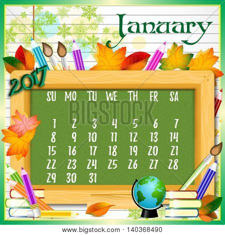 Calendar design grid with green chalkboard and school supplies on page of copybook in line. Back to school background with dates of winter month January 2017. Vector illustration