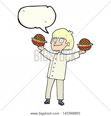 freehand drawn comic book speech bubble cartoon chef with burgers