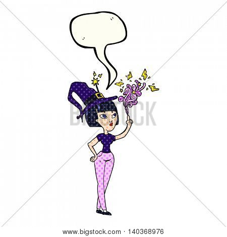 freehand drawn comic book speech bubble cartoon witch casting spell
