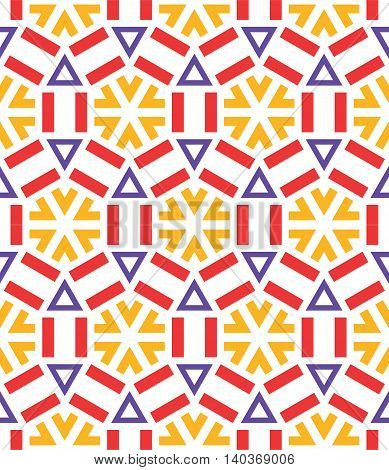 beautiful mosaic flat abstract multicolored geometric ornament for Wallpaper textiles ceramics. Seamless ceramic winter snowflake pattern on white background. Positive emotions.