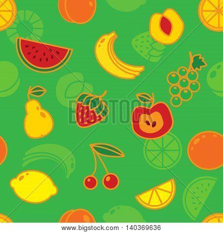 Seamless fruit pattern on green background. Art vector illustration