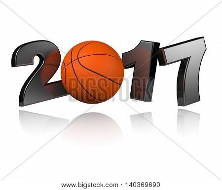 Basketball 2017 3D illustration with a White Background