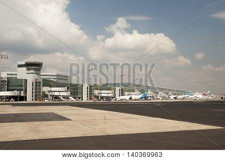 FRANKFURT GERMANY - JULY 24 2016: Gates at the Terminal II of the Frankfurt International Airport