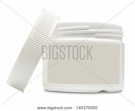Open white plastic container with blank label for cosmetics. Isolated on the white background with shadow.